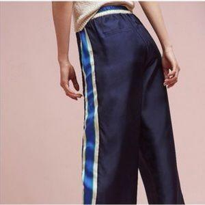 Anthro Elevenses Silk Striped Wide Leg Pants
